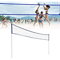 Afoxsos Volleyball Net with Poles,Foldable Badminton Tennis Volleyball Net with Stand Pole, for Beach Grass Park Outdoor