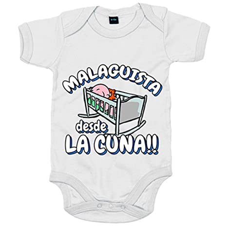 Body bebé Malaguista desde la cuna Málaga fútbol - Blanco, 6-12 meses