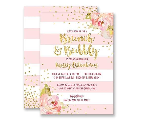 amazon com brunch bubbly bridal shower invitations pink stripe