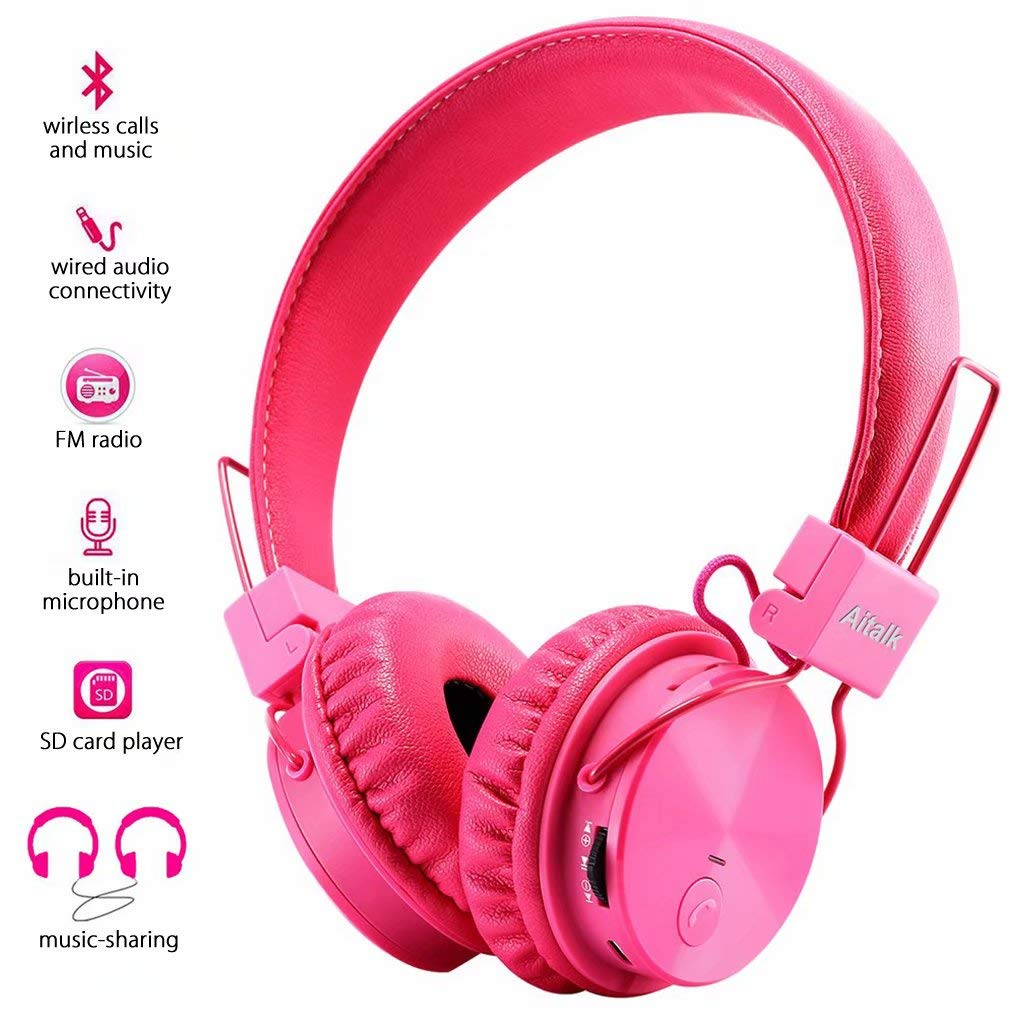 Kids Headphones, Foldable Stereo Bluetooth Headphones with Microphone Volume Control 3.5mm Jack, Adjustable On Ear Wired and Wireless Children Headset for School Airplane Kindle iPad Boys Girls Teens