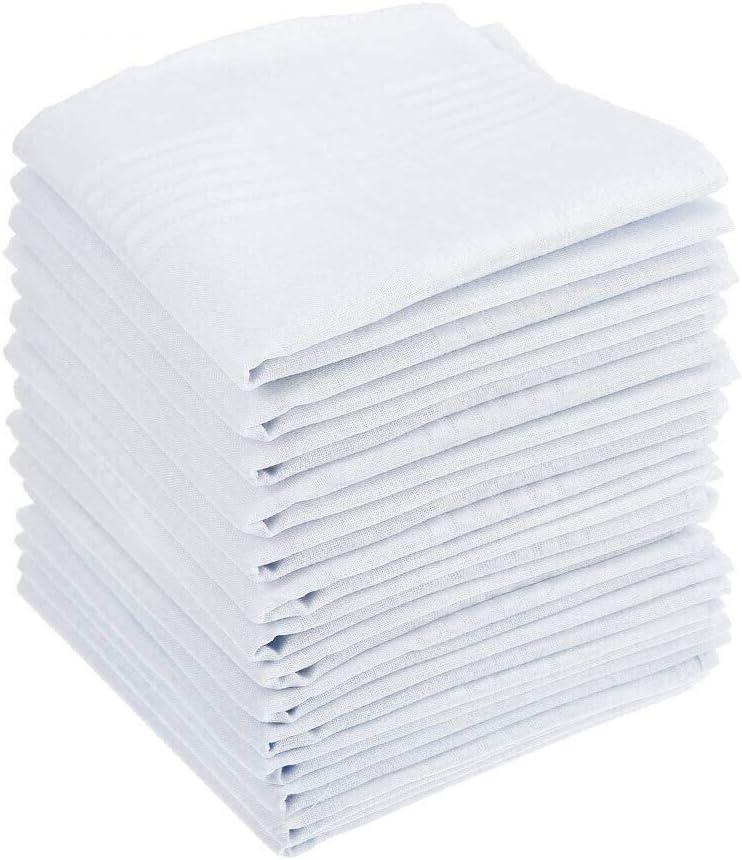 BUYGOO 15 Piezas Pañuelos Blancos para Hombres Algodón Bolsillos Cuadrados con Rayas Elegantes
