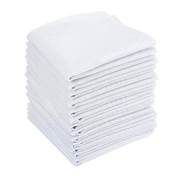BUYGOO 15 Piezas Pañuelos Blancos para Hombres Algodón Bolsillos ...