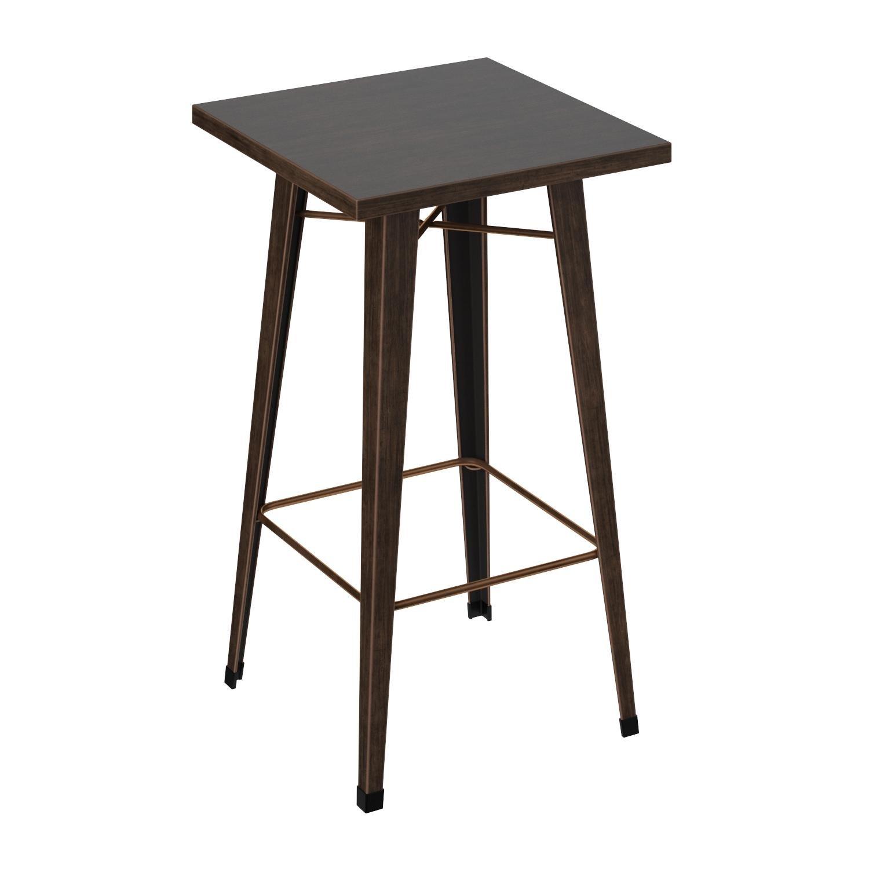 Merax Rectangular Distressed Metal Bar Table, Pub Table 39-Inch High (Golden Black)
