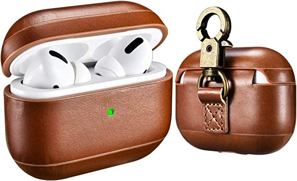 Amazon Com Airpods Pro Leather Case With Strap Icarer Genuine
