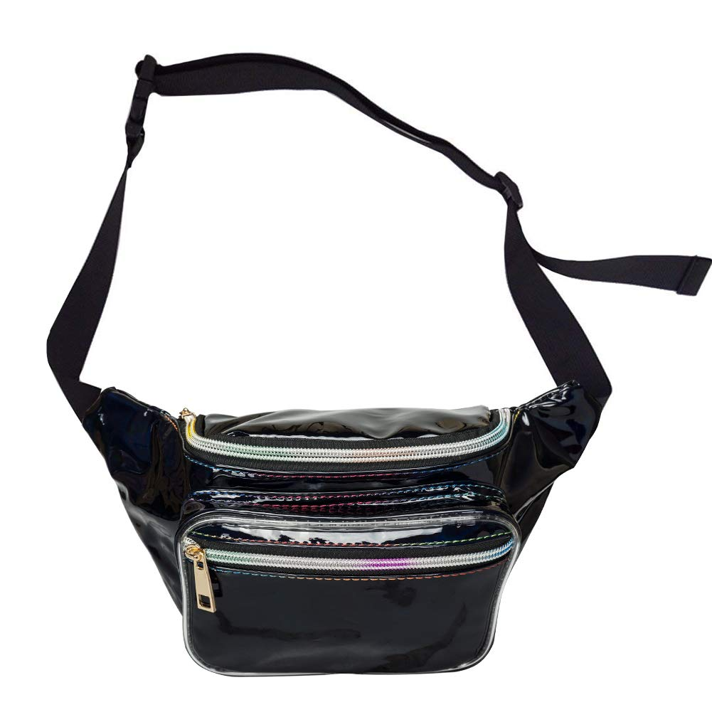 AIWENSI Casual Hologram Fanny Pack, Soft PU Laser Travel Waist Bag Women Girls