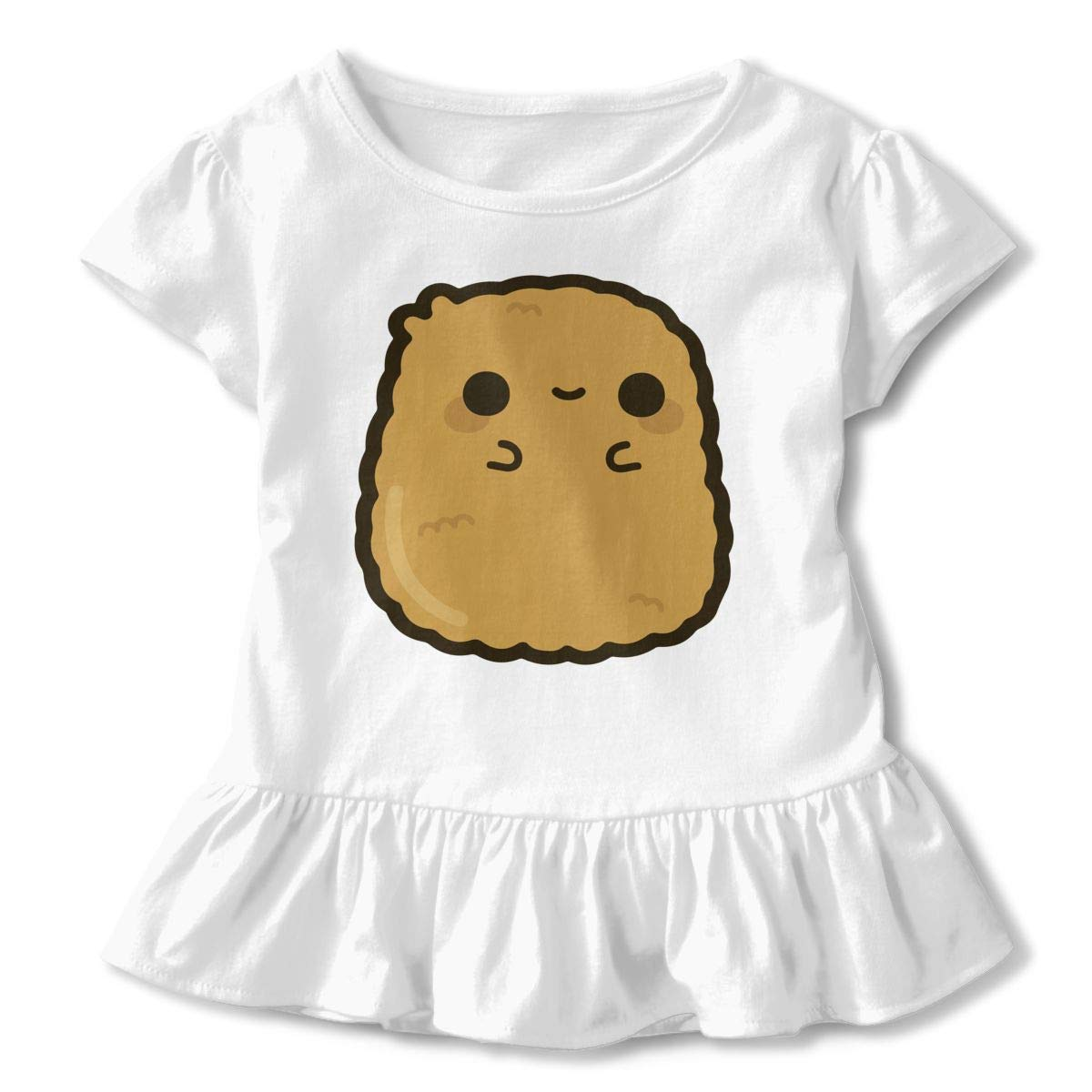 HYBDX9T Little Girls Cute Chicken Nugget Funny Short Sleeve Cotton T Shirts Basic Tops Tee Clothes