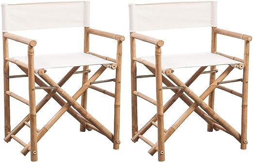 vidaXL 2x Sillas Plegables de Director Jardín Estructura Bambú y Lona Blanca: Amazon.es: Hogar
