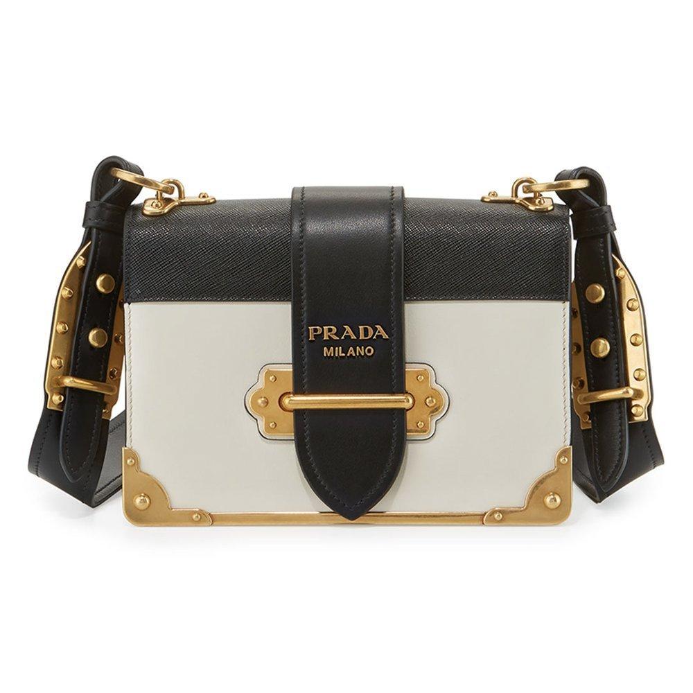 794328188888 New Prada Cahier Black & White Shoulder Bag: Amazon.co.uk: Shoes & Bags