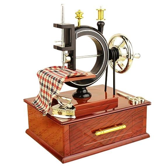 Caja de música, dinglong 1 pc Mini Vintage máquina de coser caja de música niños juguete Treadle Sartorius juguetes Retro regalo de cumpleaños Carlos Mesa ...
