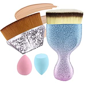 Foundation Brush Set Flat Top Kabuki Brush Petal Shape Foundation Brush Angled Flat Foundation Brush with Makeup Sponge Blender for Liquid Makeup Powder Cream Cosmetics,Makeup Quickly