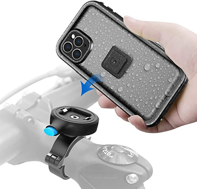 Aluminum Alloy One Second Release Bicycle Holder,Motorcycle Handlebars Mount Sokusin Metal Bike Phone Mount,Waterproof Bicycle Case for iPhone 11 Pro