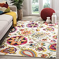 Safavieh Monaco Collection MNC229A Modern Colorful Floral Ivory and Multicolored Area Rug (67 x 9 2)