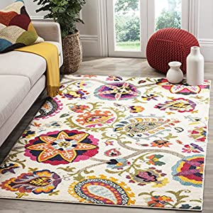 Safavieh Monaco Collection MNC229A Modern Colorful Floral Ivory and Multicolored Area Rug (4