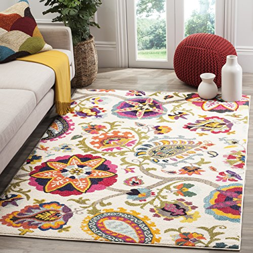 Safavieh Monaco Collection MNC229A Modern Colorful Floral Ivory and Multicolored Area Rug (6'7