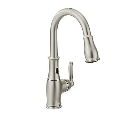 Moen 7185ESRS Brantford Motionsense Two-Sensor Touchless One-Handle High  Arc Pulldown Kitchen Faucet Featuring Reflex, Spot Resist Stainless