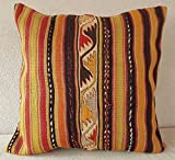 24'' X 24'' Faded Color Big Kilim Pillow Cover, Burlap Pillow, Farmhouse Pillow