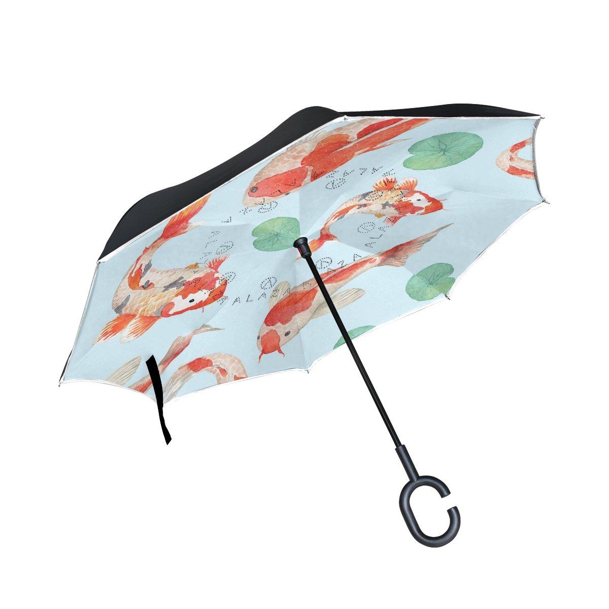 TIZORAX carpes koï Feuille de lotus inversé double couche droites parapluies sur l\'envers réversible Parapluie avec poignée en forme de C pour la pluie Soleil de voiture Utilisation