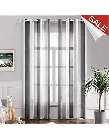 8f4a4ba0ebccd1 MIULEE Voile Vorhang Transparente Gardine aus Voile mit Ösen Schlaufenschal  Ösenschals Transparent Fensterschal Wohnzimmer Schlafzimmer 2er