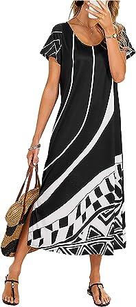 Vera Womens Summer Casual Boho Scoop Neck Floral Beach Maxi Dress