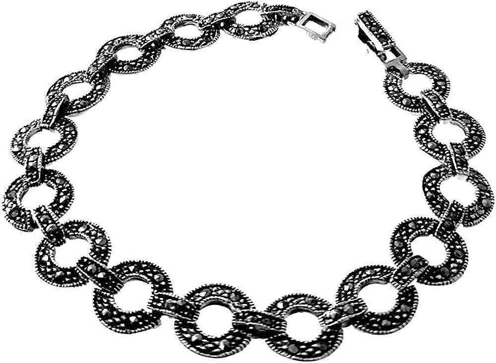 Pulsera plata Ley 925m mujer 19cm. piedras marquesitas eslabones redondos cierre pato