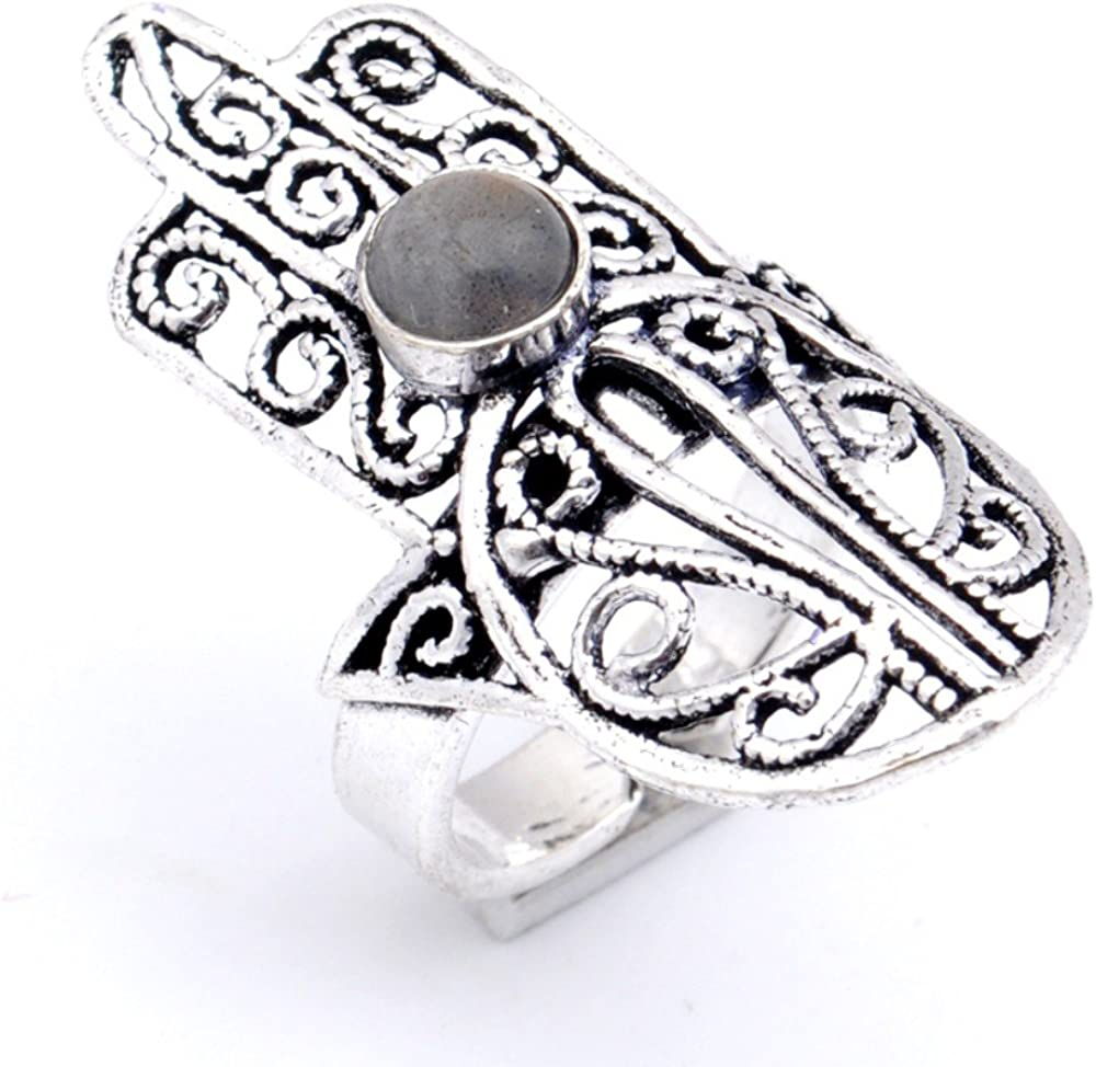 Grey Labradorite Sterling Silver Overlay Ring Size 8 US Outstanding Sizable Handmade Jewelry