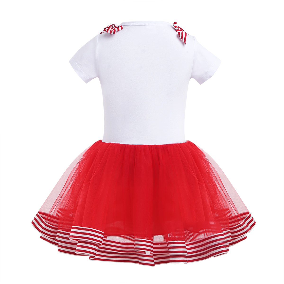 MSemis Kids Girls Christmas Outfits Short Sleeves Bowknot Candy Cane Cutie Printed T-Shirt with Mesh Tutu Skirt Set 2-5 Years