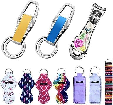 Style A Chapstick Holder Keychain,10 Pack Lipstick Holder Keychains Different Vibrant Prints Neoprene Lip Blam Keychains,Lightweight Portable Pouch