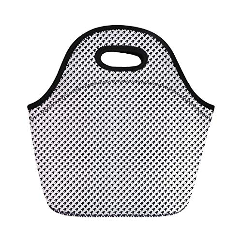 (Semtomn Lunch Tote Bag Abstract Pattern Houndstooth Mosaic Material Black Board Broken Checkerboard Reusable Neoprene Insulated Thermal Outdoor Picnic Lunchbox for Men Women)