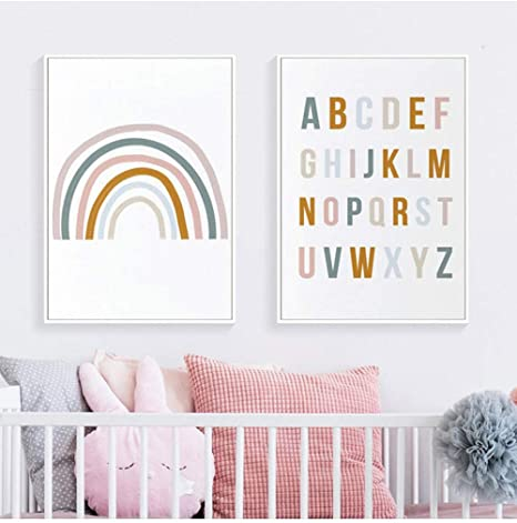 Amazon Com Rainbow Nursery Decor Abc Alphabet Poster Wall Art Canvas Painting Print Pictures New Baby Girls Gift Kids Room Home Decor 40x60cmx2 No Frame Posters Prints