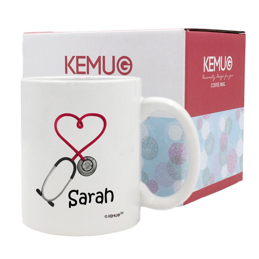 KeMug - Color Changing Mugs Black - Personalized!! Stethoscope Coffee Mug 11oz, a Funny and Unique Gift for Nurses and Doctors, Printed on Both Sides! Zhihui Co. Ltd