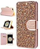 iPhone 8 Plus Case, iPhone 7 Plus Wallet Case, FLYEE Bling Handcraft Luxury Rhinestone Flip Case Magnetic Crystal Protective Leather with Card Slot for iPhone7 Plus iPhone8 Plus 5.5 inch Rose gold