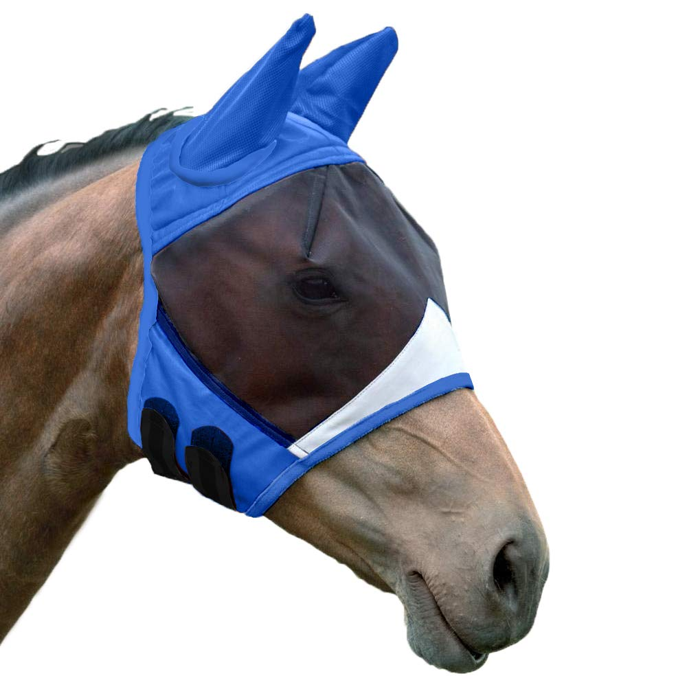 Shires Fine Mesh Fly Mask with Ears Royal Full by Shires