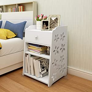Bedside Tables Bedroom Nightstand, Simple Coffee Table End Table Bedroom Furniture Storage Cabinet with Stortage Drawer for Living Room, Entryway, Office - Easy Assembly【US Fast Shipment】 (A)