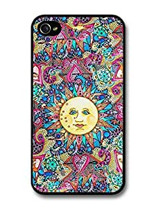 Colourful Cool Sun Illustration with New Fashion Style case for iPhone 4 4S