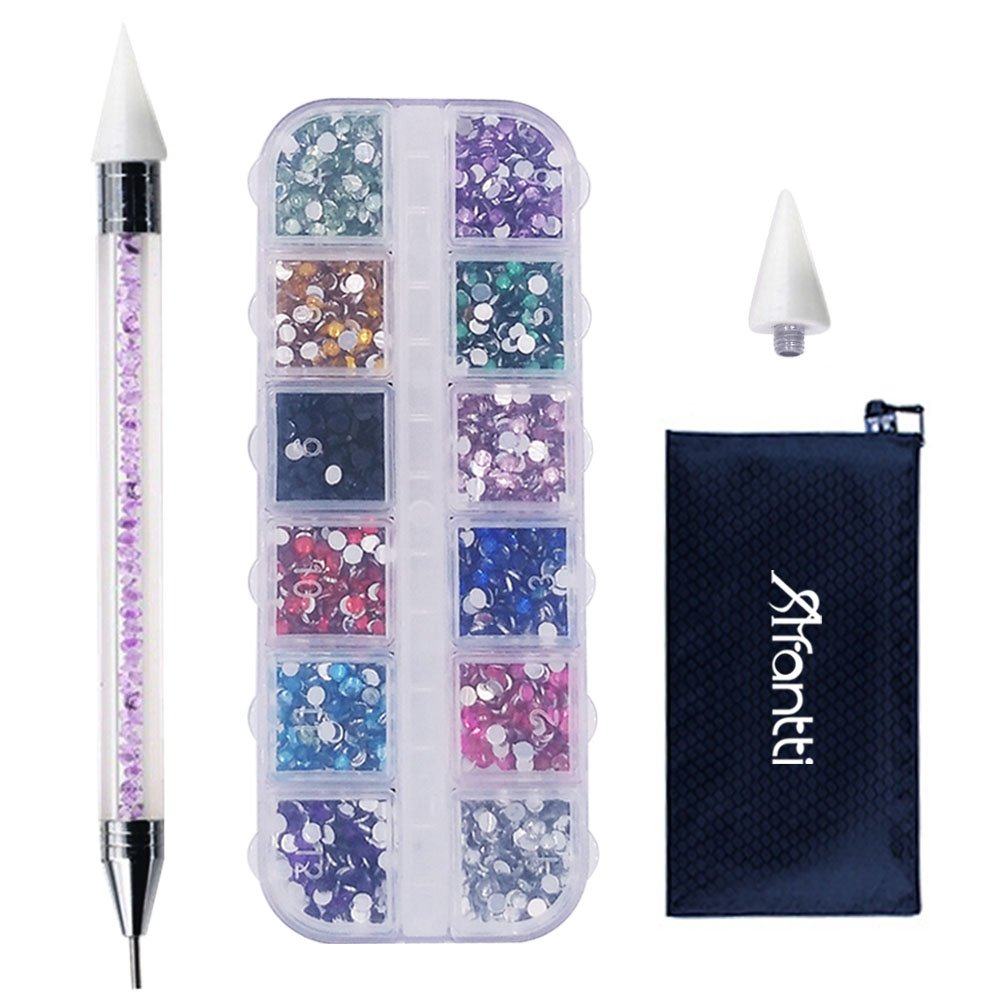 Afantti Jewel Picker Setter Pickup Tool - Wax Pencil Rhinestone Applicator Application Kit - for Pick Up Nail Gem Crystal Jewelry | Double Ended | Flatback Rhinestones (2400 Pcs)