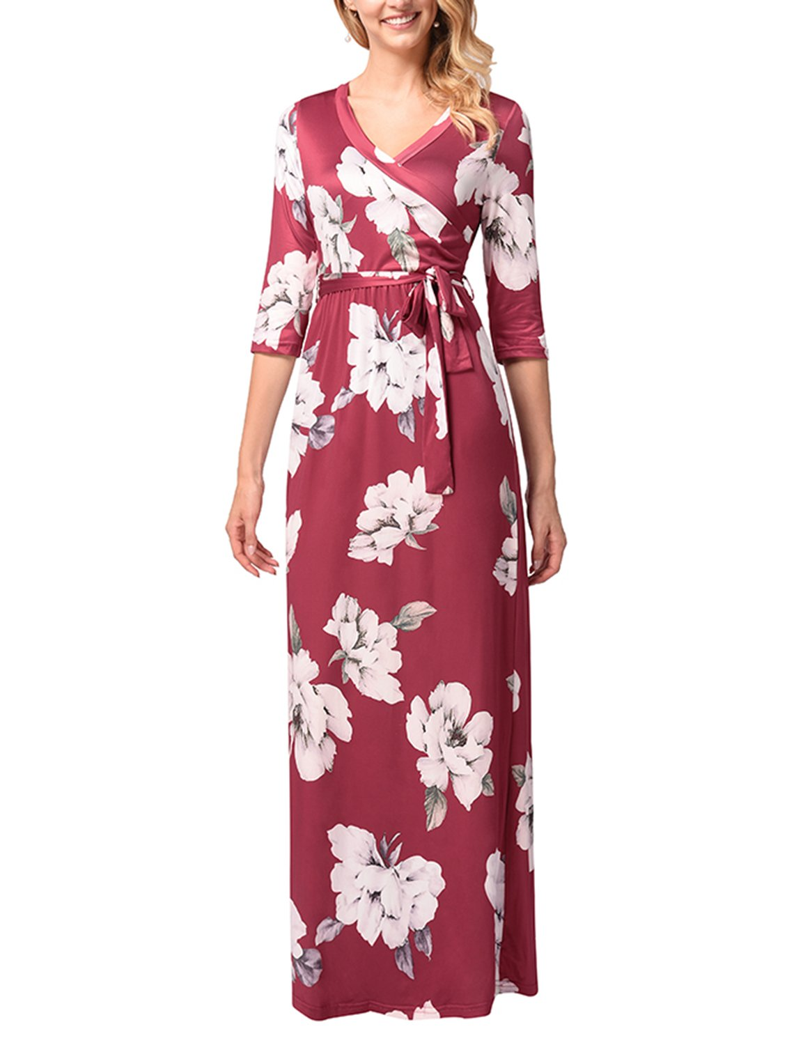 ARTEMISES Pregnancy Womans Breasefeeding V Neck Nursing Maternity Maxi Dress,Wine,Small