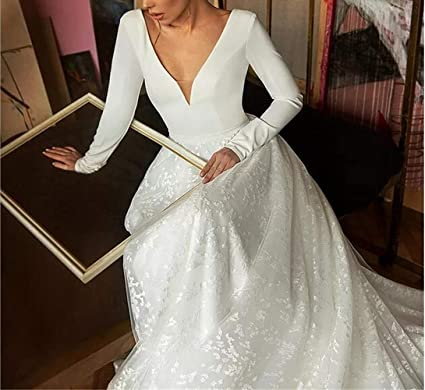 Wedding Dresses Bridal 3 Pieces With Pant Backless Long Sleeves Plus Size Custom