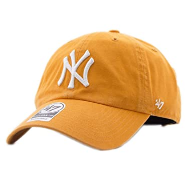 47_brand Gorra Mlb New York Yankees Clean Up Curved V Relax Fit naranja talla: Ajustable: Amazon.es: Ropa y accesorios