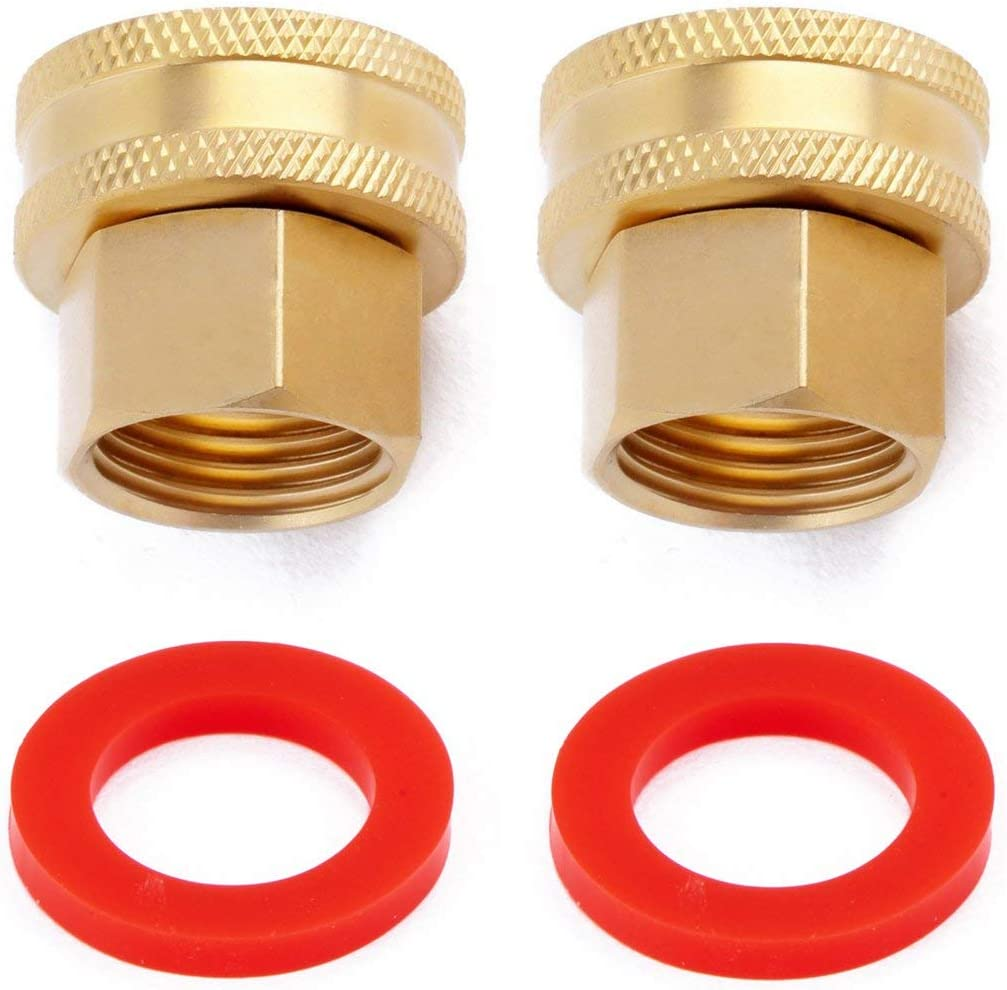 """Litorange (2 Pack Industrial Metal Brass Garden Hose Threaded 3/4 to 1/2 NPT Fitting Connect, Green Thumb Quick Swivel Connector Adapter,Double Female Thread Size 3/4"""" x 1/2"""" NPT Pipe"""