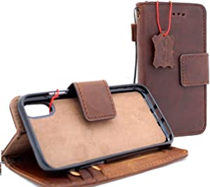 Genuine Real Leather Case for iPhone x Book Wallet Handmade Cover 10 Luxury Cards Soft Holder Magnetic Closure Vintage Detachable DavisCase Removable Jafo Oiled