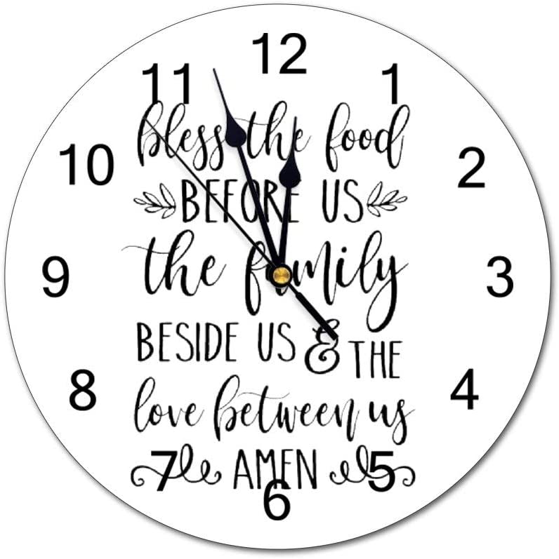 No Brands Halloween Theme Clock Bless The Food Before Us Clocks Round Silent Non-Ticking Clock Battery Operated Wall Clocks Easy to Read for Kids Living Bedroom Works 10 inch