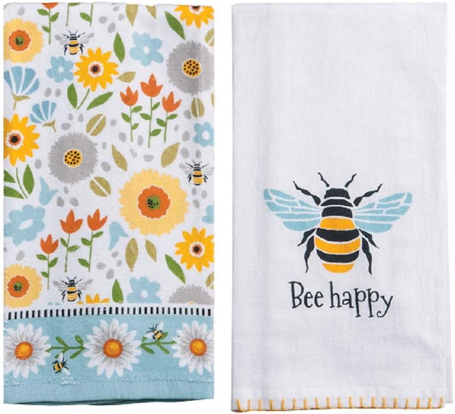Kay Dee Designs 2 Piece Garden Bee Kitchen Bundle - 1 Terry Towel and 1 Flour Sack Towel