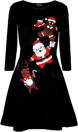 New Xmas Santa Reindeer  Gingerbread Christmas Costume Skater Mini Swing Dresses