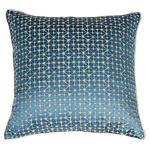 TZY Pillow, Checkerboard Glossy Sofa Cushion Modern Minimalist New Chinese Pillow Orange Model Room by Bag (Color : Gray-Blue, Size : 50CM50CM) (Best Sleeping Position For Asthma Patients)