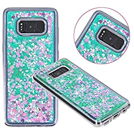 Galaxy S8 Case, VPR Sakura Liquid Quicksand Moving Stars Bling Glitter Floating Dynamic Flowing Love Heart Clear Soft TPU Protective Cover for Samsung Galaxy S8 2 Compatible Model: Samsung Galaxy S8. Material: High quality polycarbonate plastic and quicksand. The case is transparent with liquid inside,which is fashionable ,popular and interesting.