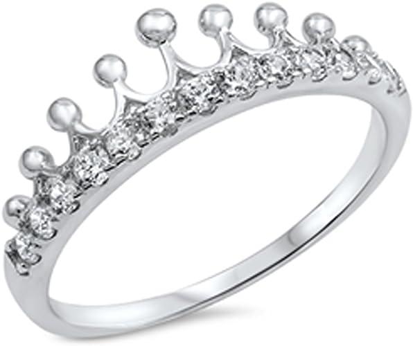 Chevron Crown Tiara Ring .925 Sterling Silver Princess Thumb Band Sizes 4-10 NEW