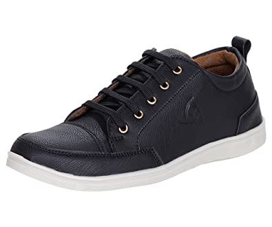 detailed look f331e d1e64 Kraasa Men s Black Synthetic Leather Sneakers- 6