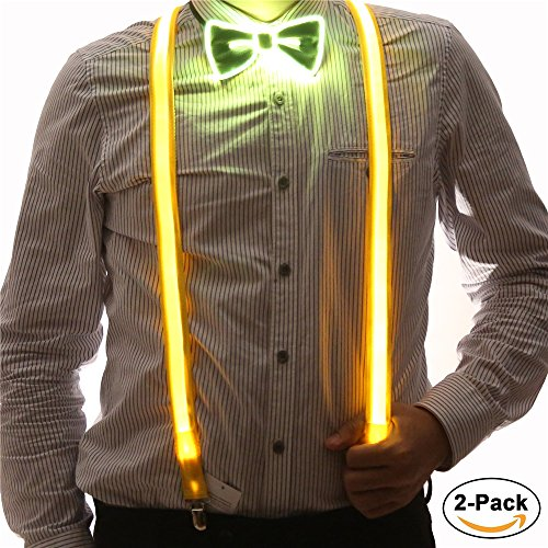 2 Pcs/Set, Good Quality Light Up LED Suspenders And Bow Tie,Perfect For Music Festival Halloween Costume Party (Yellow)