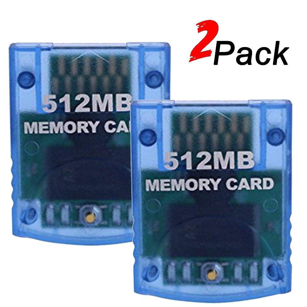 Mekela 2 Packs Memory Card 512MB (8192 Blocks) for Nintendo Wii Gamecube NGC GC (Blue and Blue) by Mekela