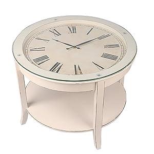 Paris Loft Vintage Wood Cocktail Clock Coffee Table, Side End Table White